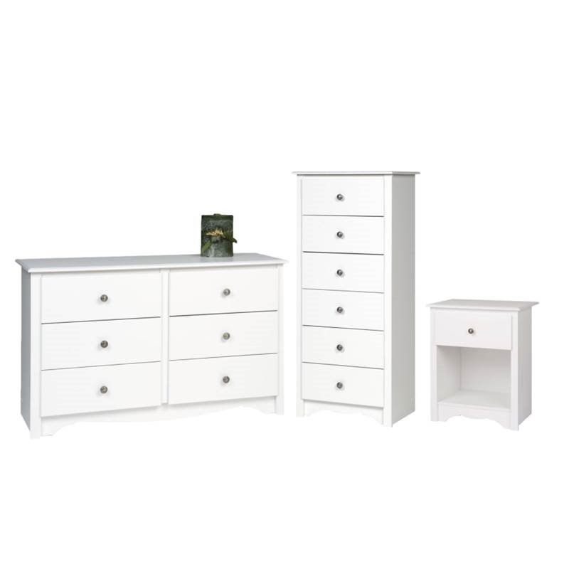 3 Piece Bedroom Set With Nightstand, Dresser, And Lingerie Chest In White