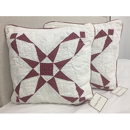 Nautica Tattersall Decorative Pillow Sham, Red & White (Set of 2) (Nautica European Decorator Pillow)