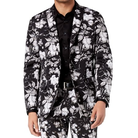 INC NEW Black Mens Size Small S Slim Fit Floral Two Button Blazer