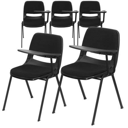 Flash Furniture 5 Pk. Black Padded Ergonomic Shell Chair with Left Handed Flip-Up Tablet Arm ()