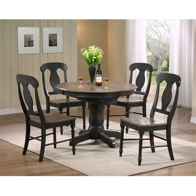 Iconic Furniture Round Dining Table, Grey Stone & Black Stone