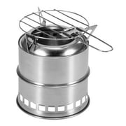 Portable Folding Camping Stove Outdoor Cooking Wood Burning Stove with Alcohol Tray and Grill Net Hiking Backpacking Picnic BBQ
