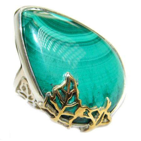 Natural Sublime quality Malachite .925 Sterling Silver handcrafted ring size 8 adjustable by SilverRush Style