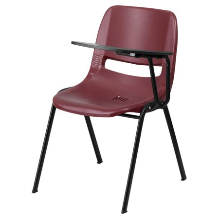 - Flash Furniture Ergonomic Shell Chair with Left-Handed Flip-Up Tablet Arm, Burgundy
