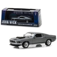 """1969 Ford Mustang BOSS 429 Gray with Black Stripes """"John Wick"""" (2014) Movie 1/43 Diecast Model Car by Greenlight"""