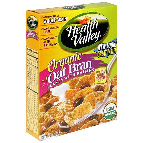 Health Valley Oat Bran Flakes Cereal With Raisins, 13.8 oz (Pack of 6)