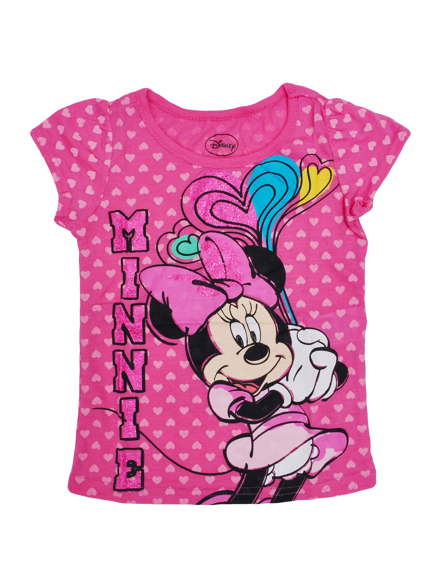 Girls Minnie Mouse Hearts Glitter Short Sleeve T-Shirt Pink