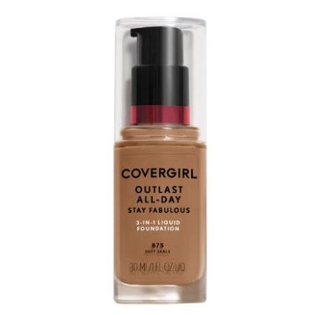 COVERGIRL Outlast All-Day Stay Fabulous 3-in-1 Foundation, 875 Soft Sable, 1 oz