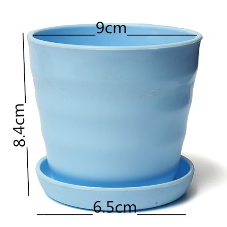 Blue Round Flower Pot Colorful Plastic Planter Nursery + Tray Home Garden Office