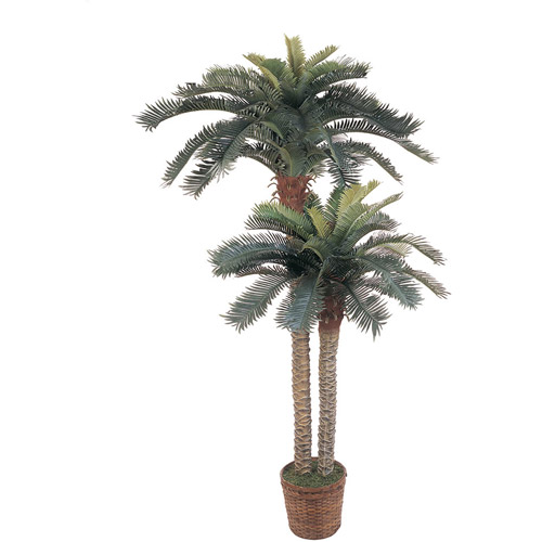 6' and 4' Sago Palm Double Potted Silk Tree