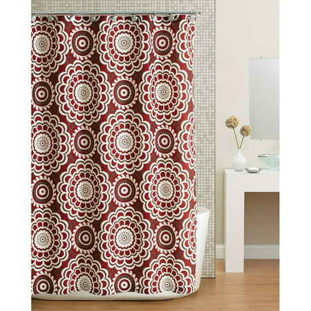 home trends ht global floral shower curtain red