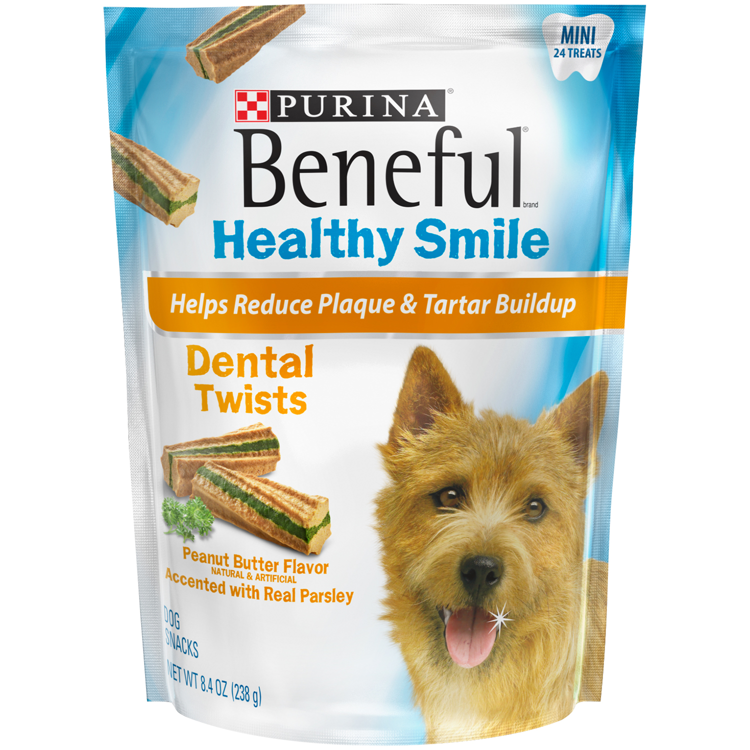 Purina Beneful Healthy Smile Dental Dog Treats Adult Mini Twists 8.4 oz. Pouch