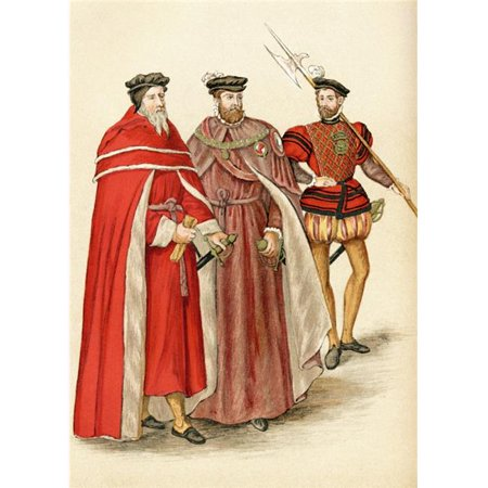 Two Peers In Their Robes, & A Halberdier During The Elizabethan Era From The Book Short History of The English People by J.R. Green Published London 1893 Poster Print, 24 x 34 - Large - Elizabethan Era For Kids
