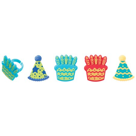 Birthday Hat & Cake Cupcake Rings, 24 Count