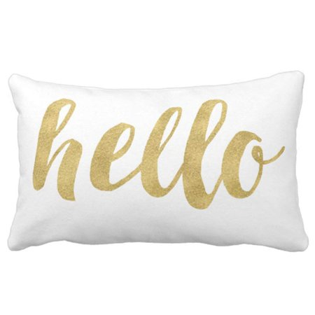 BPBOP Stylish Fun Hello In Gold Decorative Pillowcase Throw Pillow Cover 20x30 inches ()