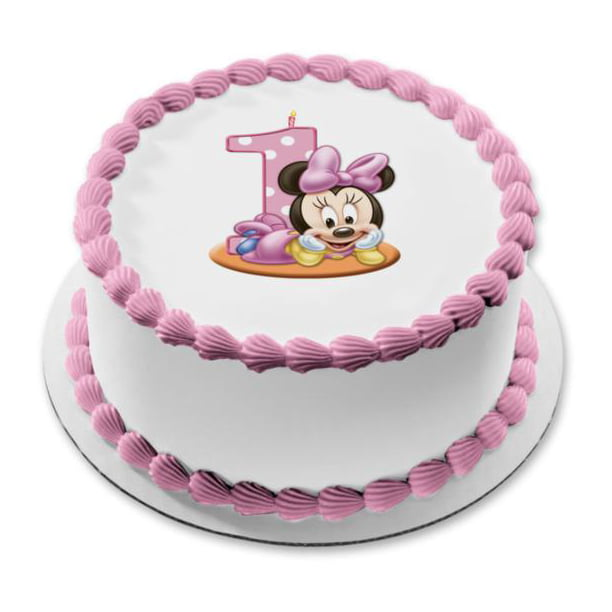 Brilliant Disney Baby Minnie Mouse Number One Cake Candle First Birthday Personalised Birthday Cards Veneteletsinfo