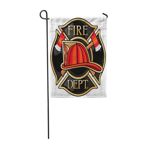 KDAGR Red Fireman Fire Department Firefighters Maltese Cross Symbol Badge Garden Flag Decorative Flag House Banner 12x18 inch