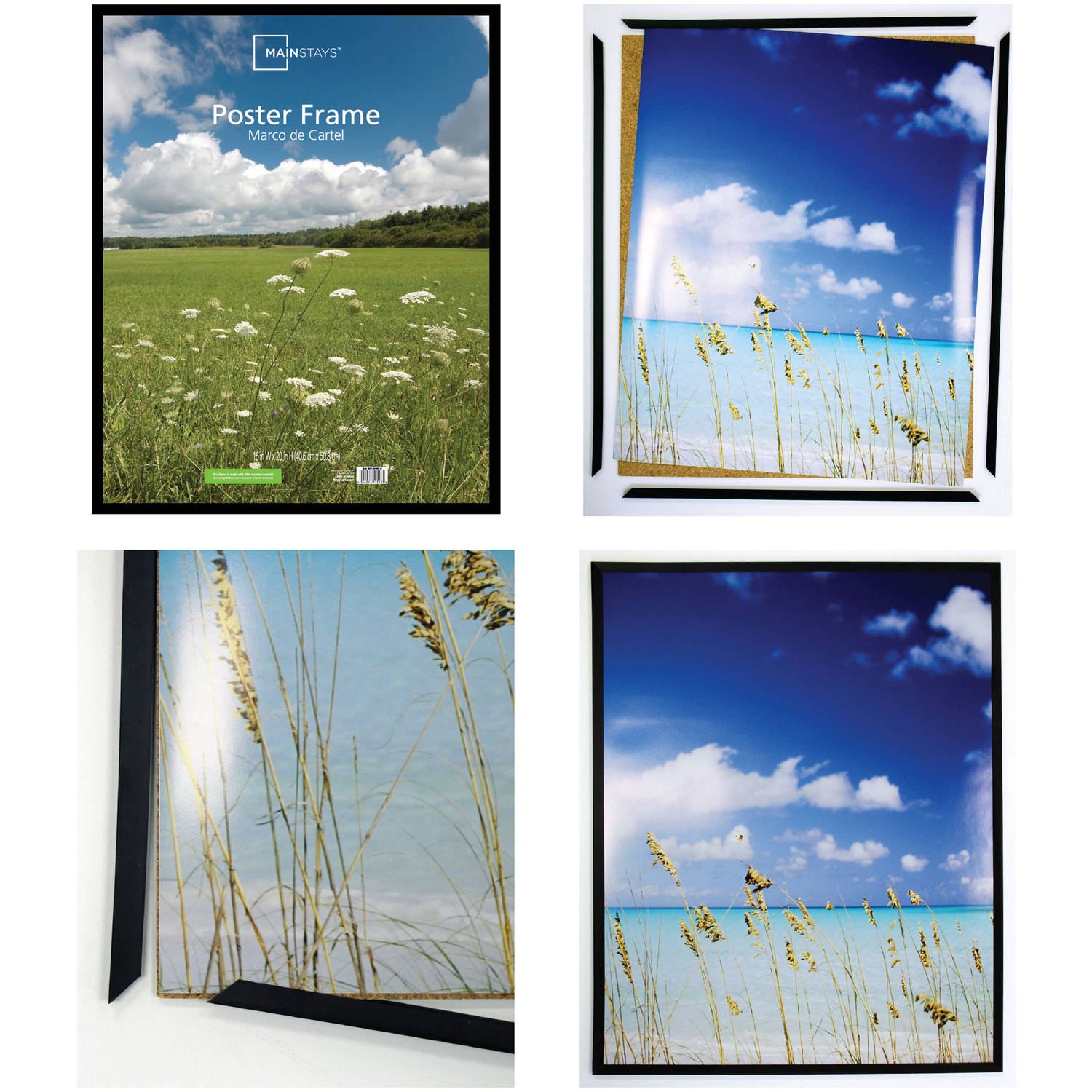 Mainstays 24x36 Basic Poster & Picture Frame, Black, Set of 2 ...