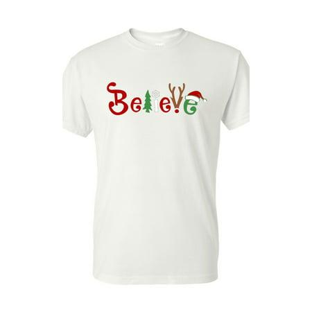 Christmas Shirt Believe Santa Claus Reindeer Mens Womens - Santa Claus Skirt