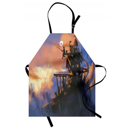 Fantasy Apron Fisherman Sitting on the Castle Standing over the Rocky Cliffs Haunted Paint Style, Unisex Kitchen Bib Apron with Adjustable Neck for Cooking Baking Gardening, Multicolor, by Ambesonne - Bake On Paint