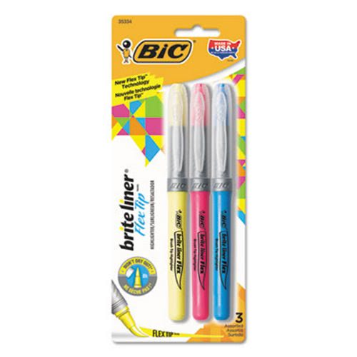 Bic Brite Liner Brush Tip Highlighters, Assorted Colors, 3/Set (BICGBLBP31AST)