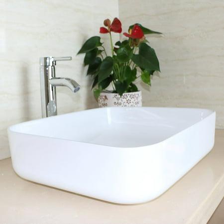 Ceramic Bathroom Vanity - Ainfox Bathroom White Square Lavatory Porcelain Ceramic Vanity Vessel Sink Basin & Pop up Drain Combo