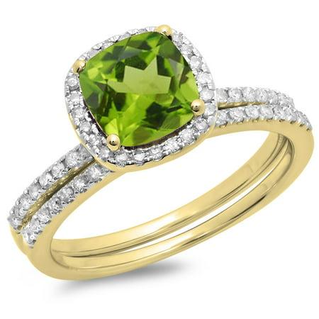 Dazzlingrock Collection 10K Peridot & White Diamond Bridal Halo Engagement Ring Matching Band Set, Yellow Gold, Size 6.5