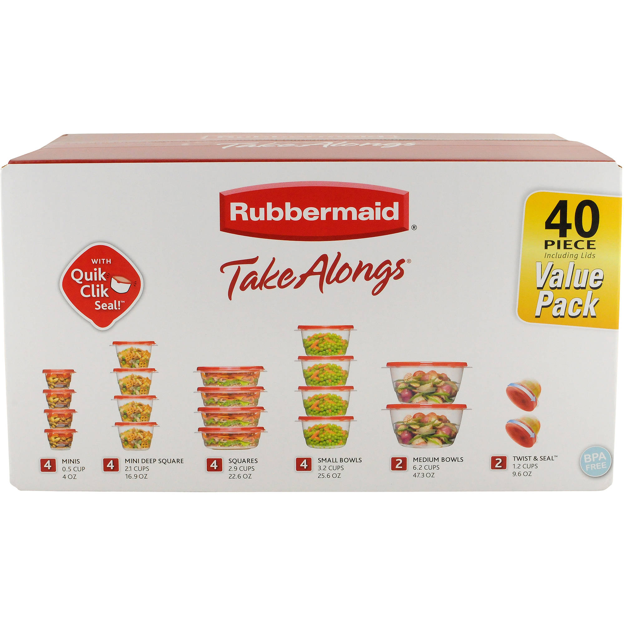 Rubbermaid TakeAlongs Food Storage Container, 40-Piece Set, Red