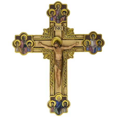 Joseph's Studio by Roman Exclusive Wall Cross, Depicts Jesus Framed in Gold Scrollwork Surrounded by The 12 Apostles, 12-Inch, Roman Exclusive By Renaissance Collection