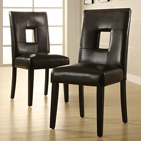 Marvelous Modern Black Faux Leather Square Keyhole Dining Chairs With Black Finish Wood Legs Set Of 2 Includes Modhaus Living Tm Pen Squirreltailoven Fun Painted Chair Ideas Images Squirreltailovenorg