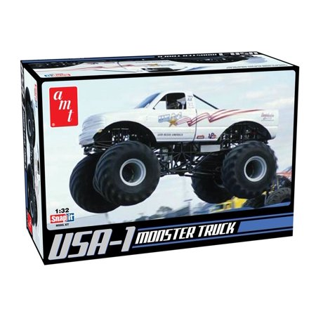 132 Snap - AMT USA-1 4x4 Monster Truck Snap Together Kit, 1/32 scale By Round 2 Ship from US