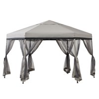 Sunjoy Millbrook 11 ft. x 11 ft. Gray and Black 2-tone Pop Up Portable Hexagon Steel Gazebo with Mosquito Netting
