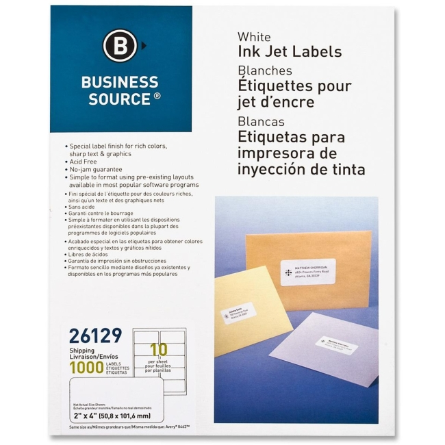 Business Source Mailing Labels, Shipping, Inkjet, 2''x4'', 1000 per Pack, White