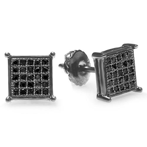 Black-plated Silver 1/6ct TDW Black Diamond Pave Square Stud Earrings
