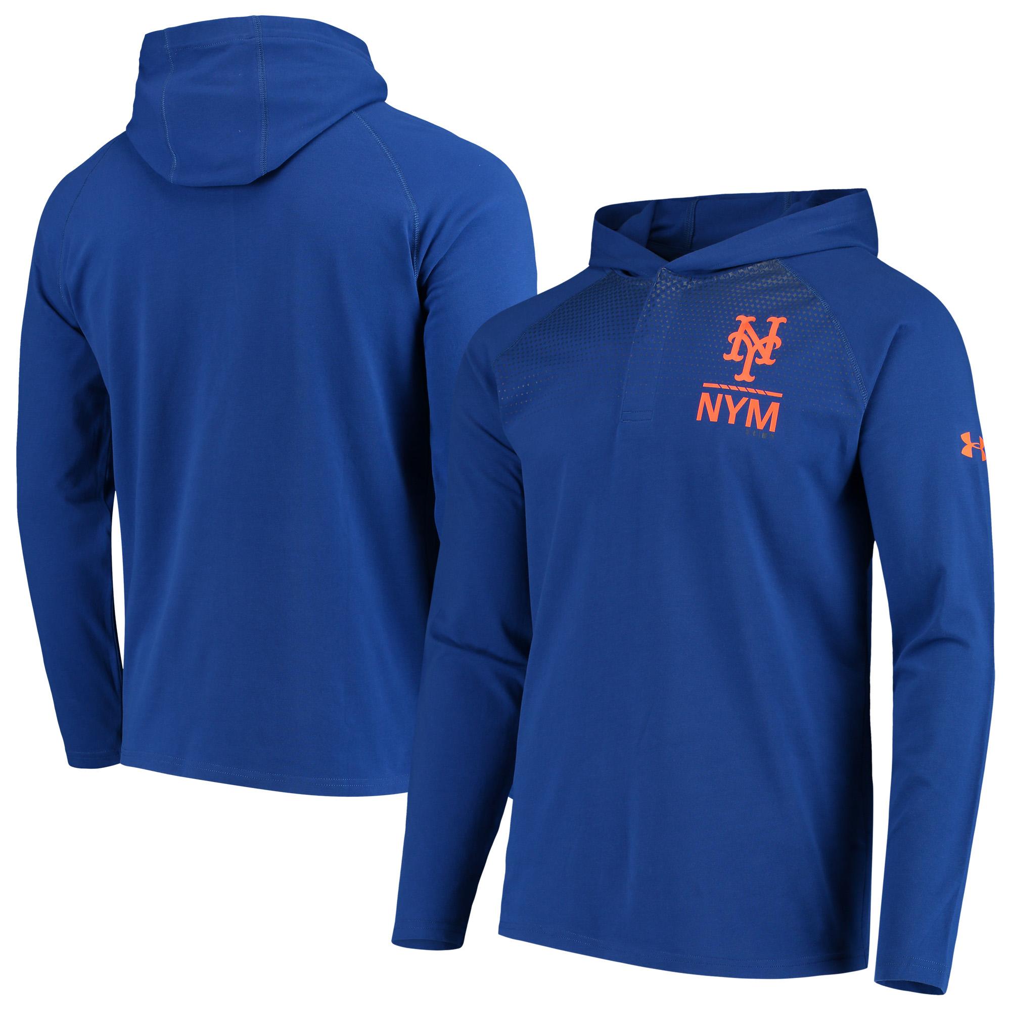 New York Mets Under Armour Henley Performance Raglan Tri-Blend Pullover Hoodie - Royal