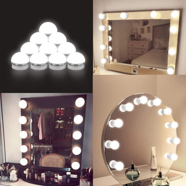 Coolmade Vanity Lights Kit Hollywood Style Makeup Light Bulbs With Stickers Attached To Bathroom Wall Or Dressing Table Mirrors With Dimmable Switch And Power Plug Daylight Mirror Included Walmart Com Walmart Com