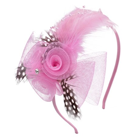 f38917bf7e8f4 Women s Mesh Flowers   Feather Fascinator Headband Hair Accessory ...