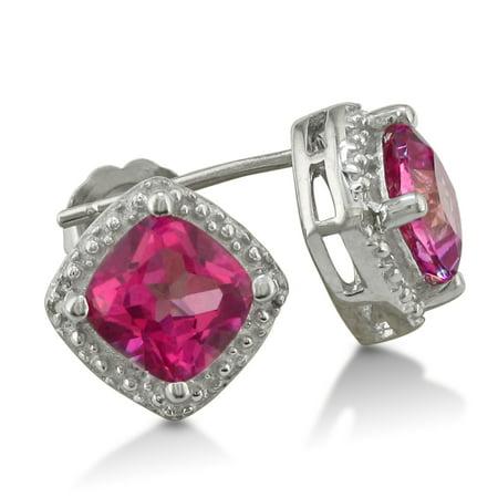 2ct Created Pink Sapphire and Diamond Cushion Cut Stud