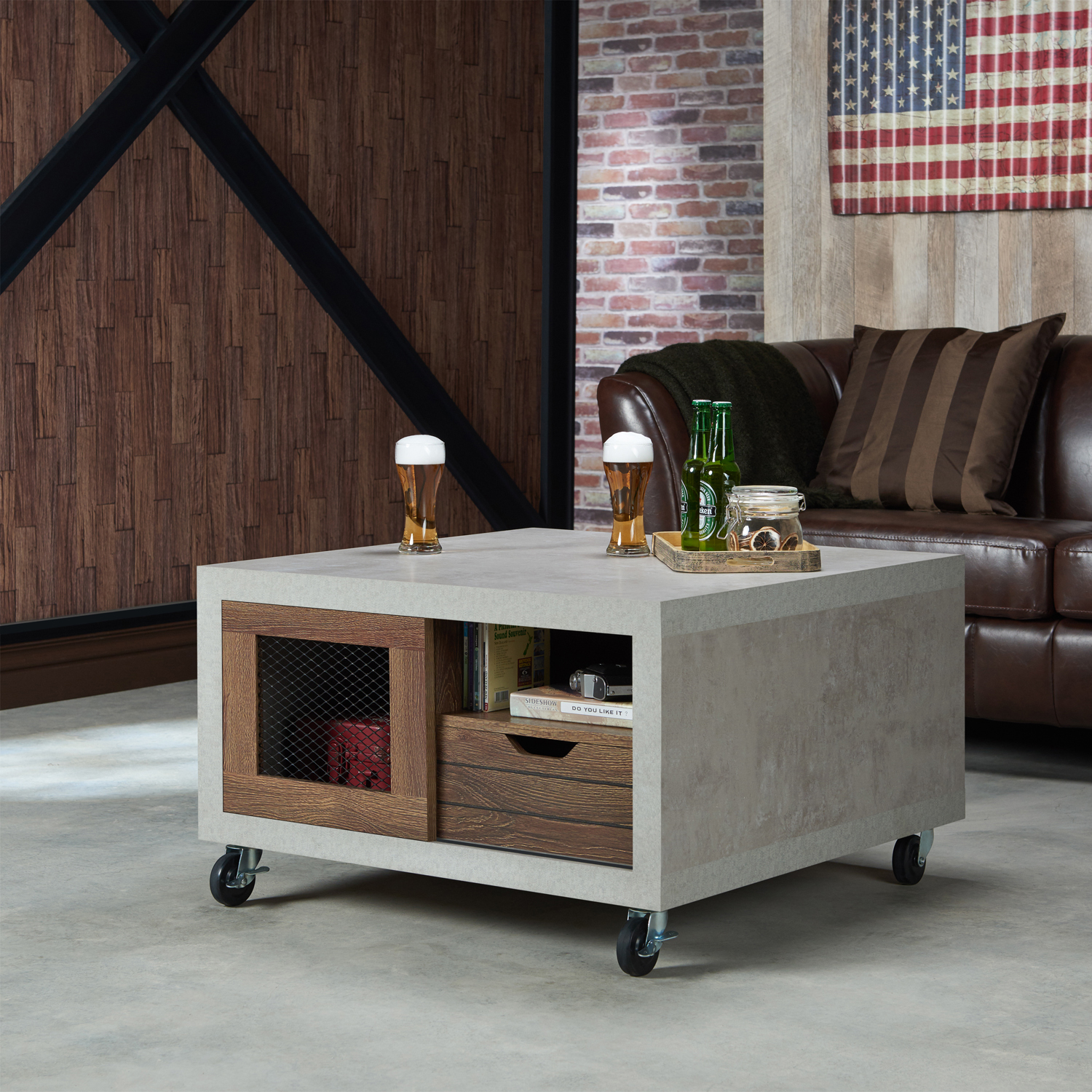 Furniture Of America Greine Contemporary Wood Square Coffee Table Distressed Walnut And Cement Walmart Com Walmart Com