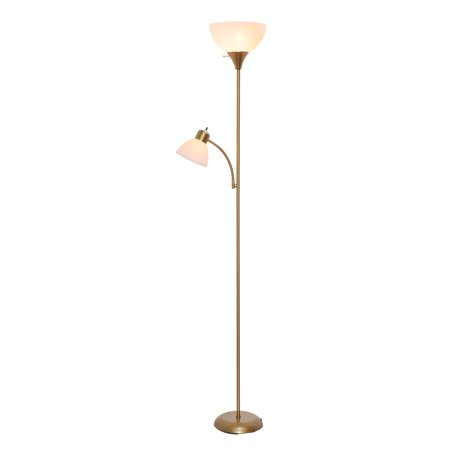 (Mainstays Floor Lamp with Reading Light and Bulbs Included, Gold)