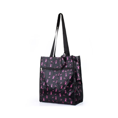 Lightweight All Purpose Travel Bag with Attached Coin Purse by Zodaca Camping Shopping Zipper Utility Shoulder Tote Carry Bag - Breast Cancer Pink Ribbon - Breast Cancer Bags
