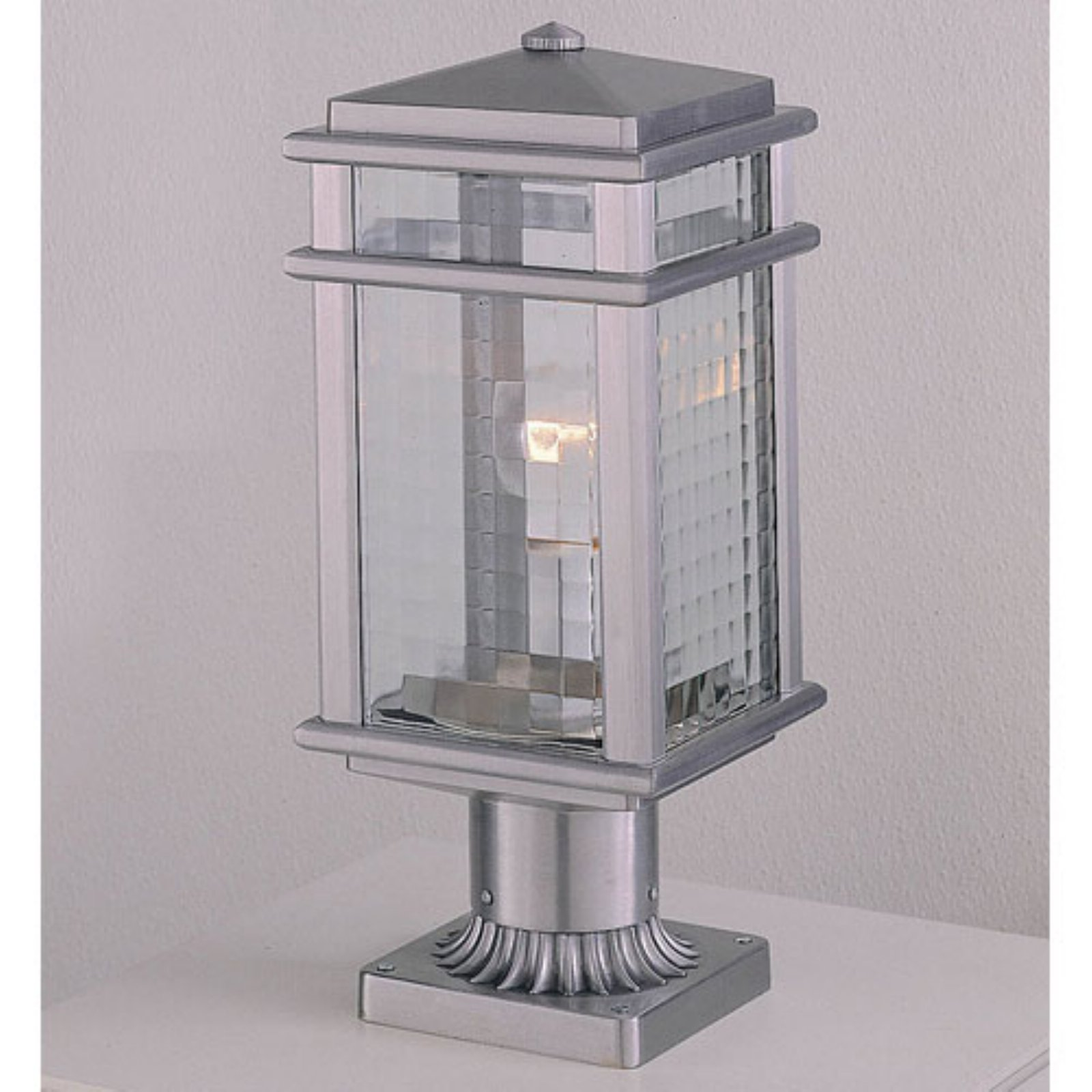 Feiss Monterey Coast Outdoor Post Lantern - 16H in. Brushed Aluminum