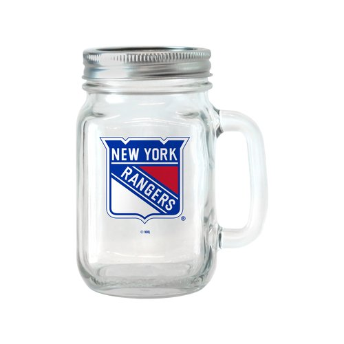 NHL 16 oz New York Rangers Glass Jar with Lid and Handle, 2pk