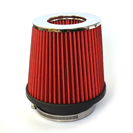 Zimtown 3Inch Chrome Inlet Short Ram Cold Air Intake Round Cone Air Filter Red