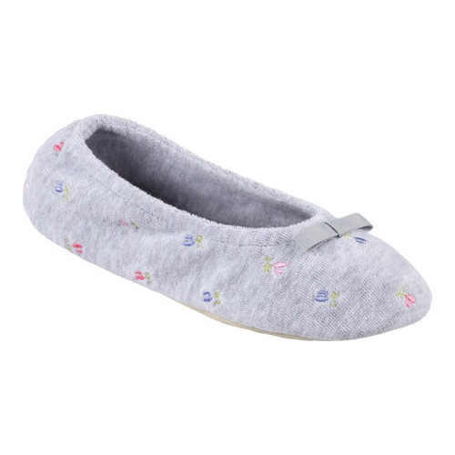 Isotoner Terry Floral Embroidered Ballerina(Women's) -Heather Grey