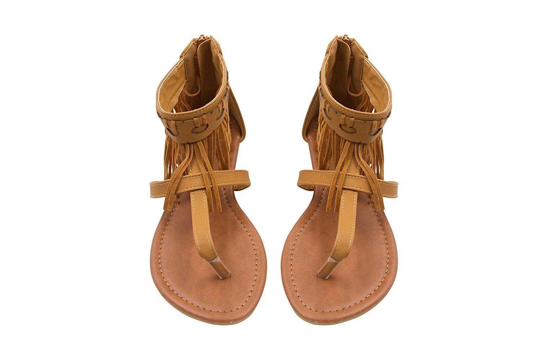 942bfc6312c8b Sara Z - Sara Z Womens Microsuede Ankle Cuff Fringe Thong Sandal ...