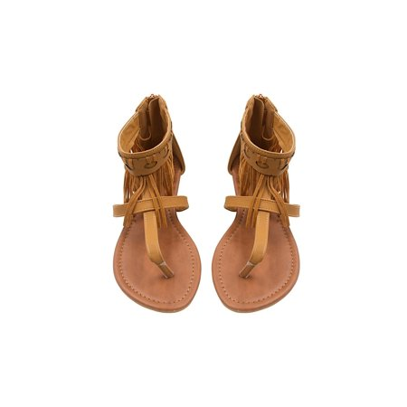 Sara Z Ladies Fringe Thong Sandal with Back Zipper 11 Cognac
