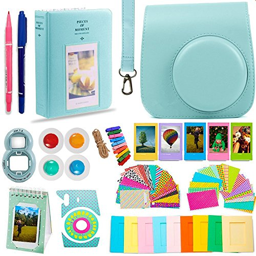 DNO Fujifilm Instax Mini 9/8 Camera Accessories (11 Piece Kit) - Includes Protective Case/ Hanging Frames/ Filters/ Selfie Len/ Photo Album/ Stickers and More - Portable & Perfect Gift (Raspberry)