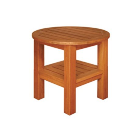 Terrace Mates Asian Hardwood Two Shelf High End Table, Natural Oil Stain ()