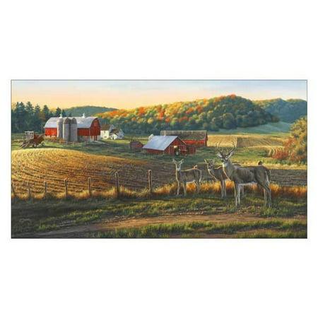 Elizabeth Studios Fabrics Whitetail Deer on the Farm Panel